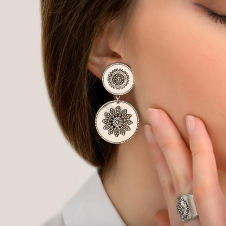 Boucles d'oreilles clips tendance métal et cristaux Prestige I argenté85428