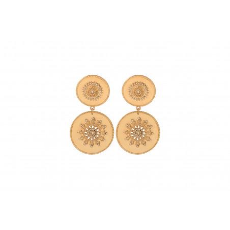 Boucles d'oreilles clips solaires métal et cristaux Prestige I doré