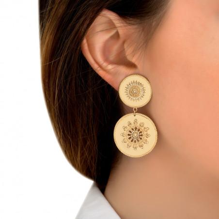 Boucles d'oreilles clips solaires métal et cristaux Prestige I doré85430