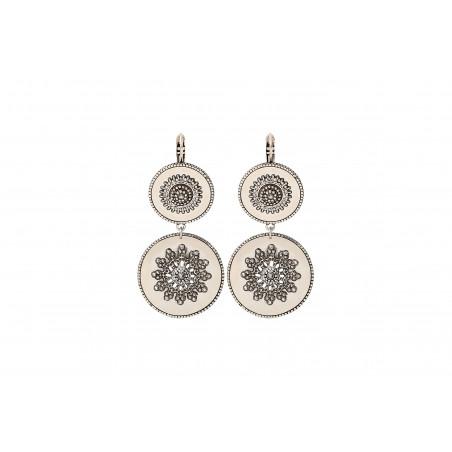 Boucles d'oreilles dormeuses tendance métal et cristaux Prestige I argenté