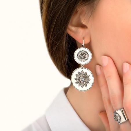 Boucles d'oreilles dormeuses tendance métal et cristaux Prestige I argenté85432