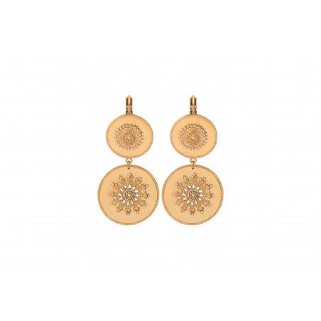 Boucles d'oreilles dormeuses solaires métal et cristaux Prestige I doré