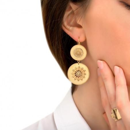 Boucles d'oreilles dormeuses solaires métal et cristaux Prestige I doré85434