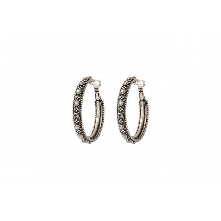 Boucles d'oreilles créoles percées rock métal et cristaux Prestige I argenté