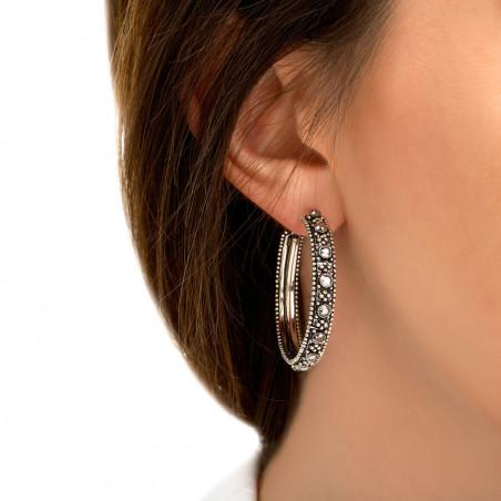 Boucles d'oreilles créoles percées rock métal et cristaux Prestige I argenté85436