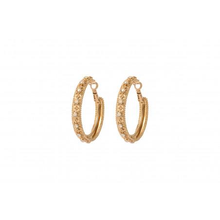 Boucles d'oreilles créoles percées ethniques métal et cristaux Prestige I doré