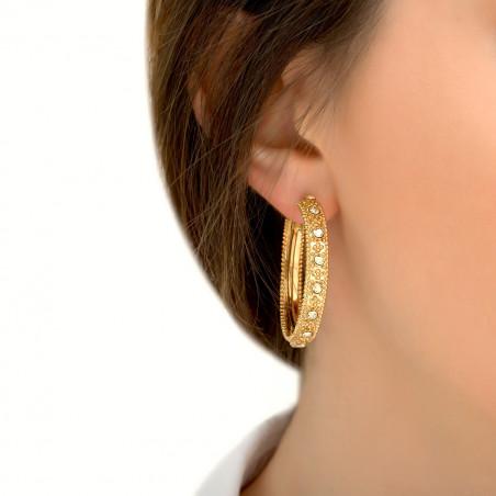 Boucles d'oreilles créoles percées ethniques métal et cristaux Prestige I doré85438