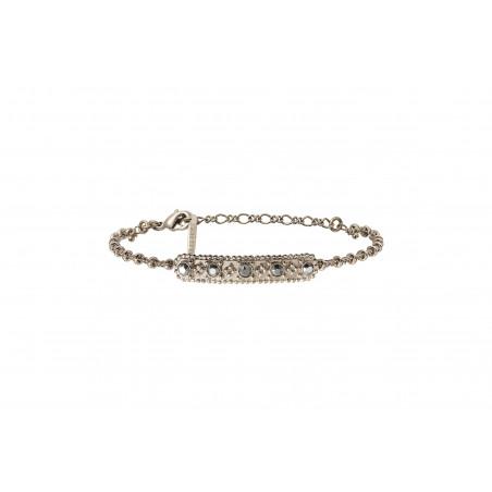 Bracelet souple baroque métal et cristaux Prestige I argenté