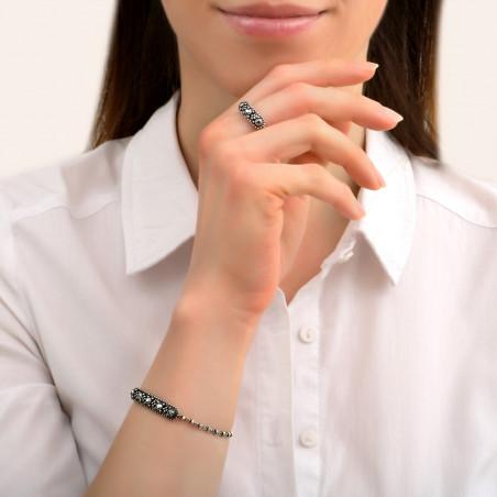 Bracelet souple baroque métal et cristaux Prestige I argenté85440