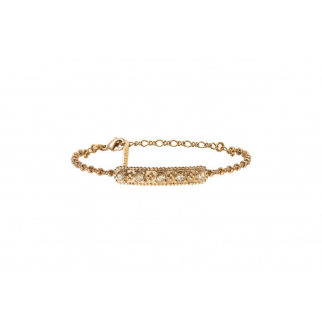 Bracelet souple glamour métal et cristaux Prestige I doré