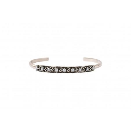 Bracelet jonc fin ethnique métal et cristaux Prestige I argenté