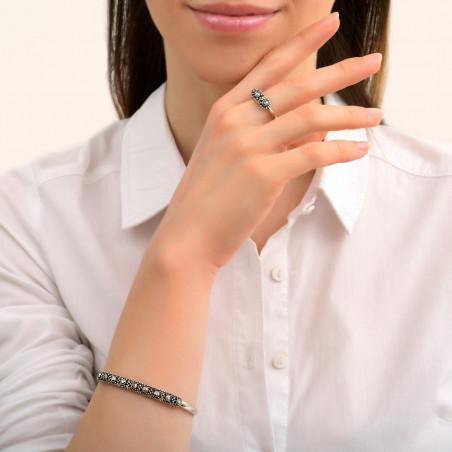 Bracelet jonc fin ethnique métal et cristaux Prestige I argenté85450