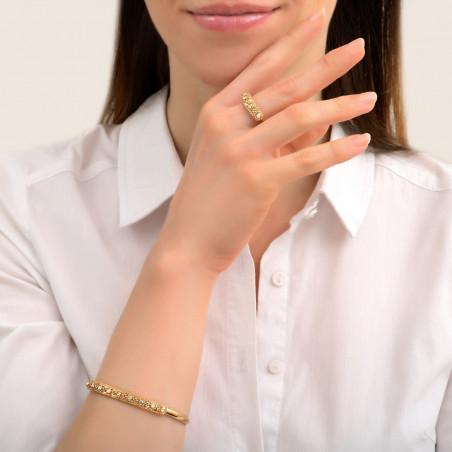 Bracelet jonc fin romantique métal et cristaux Prestige I doré85452