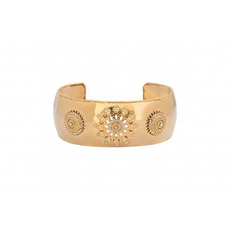 Bracelet manchette bohème métal et cristaux Prestige I doré
