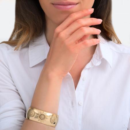 Bracelet manchette bohème métal et cristaux Prestige I doré85456