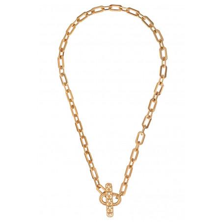 Collier chaîne fantaisie métal et cristaux Prestige I doré