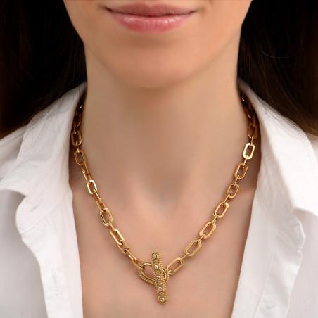 Collier chaîne fantaisie métal et cristaux Prestige I doré85461