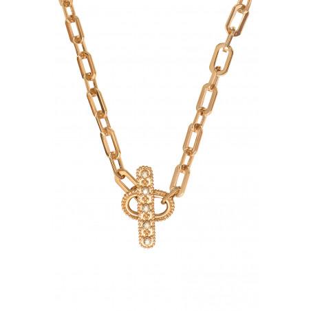 Collier chaîne fantaisie métal et cristaux Prestige I doré85462
