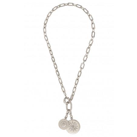 Collier chaîne ethnique médailles métal et cristaux Prestige I argenté