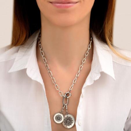 Collier chaîne ethnique médailles métal et cristaux Prestige I argenté85464