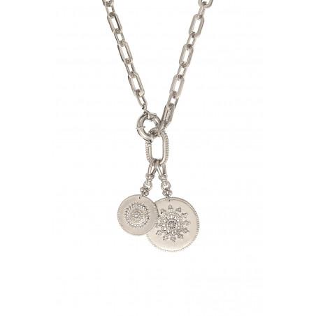 Collier chaîne ethnique médailles métal et cristaux Prestige I argenté85465