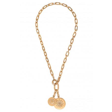 Collier chaîne bohème médailles métal et cristaux Prestige I doré