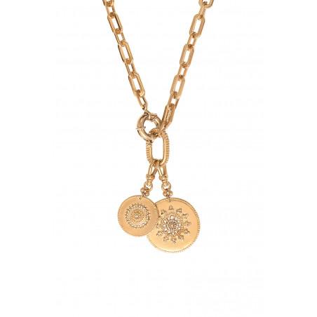 Collier chaîne bohème médailles métal et cristaux Prestige I doré85468