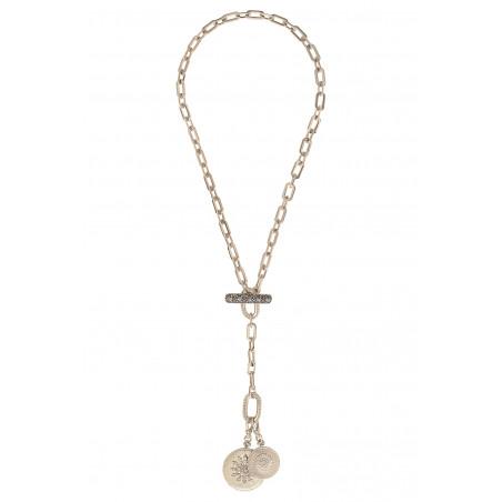 Collier chaîne long chic médailles métal et cristaux Prestige I argenté