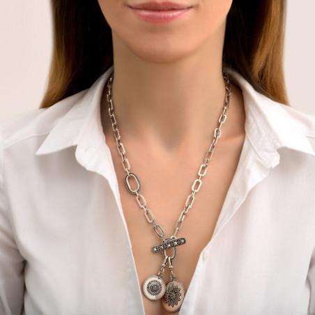 Collier chaîne long chic médailles métal et cristaux Prestige I argenté85470