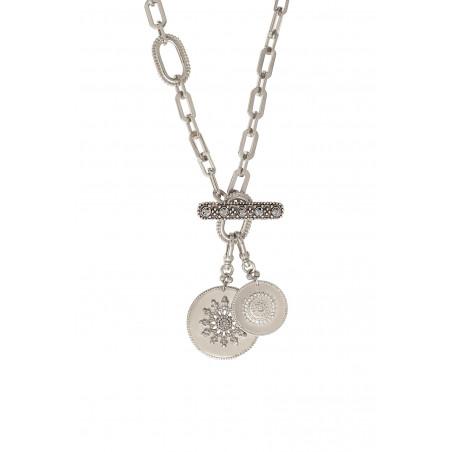 Collier chaîne long chic médailles métal et cristaux Prestige I argenté85471