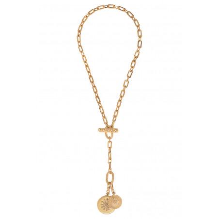 Collier chaîne long féminin médailles métal et cristaux Prestige I doré