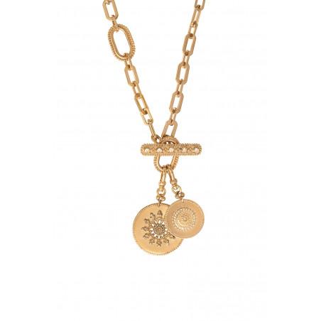 Collier chaîne long féminin médailles métal et cristaux Prestige I doré85474