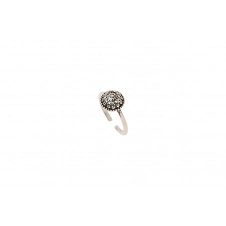 Bague ajustable classique métal et cristaux Prestige I argenté