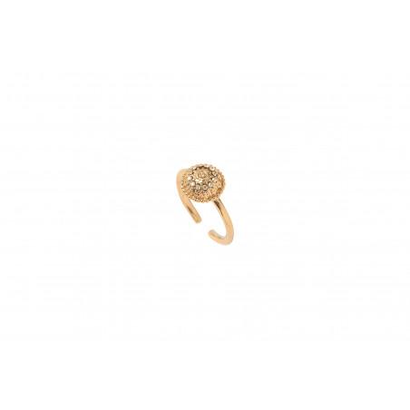 Bague ajustable sophistiquée métal et cristaux Prestige I doré