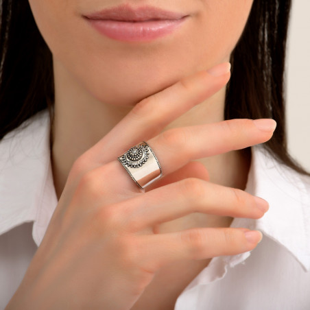 Bague ajustable ethnique métal et cristaux Prestige I argenté85484