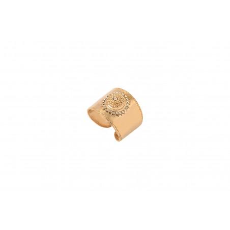 Bague ajustable raffinée métal et cristaux Prestige I doré