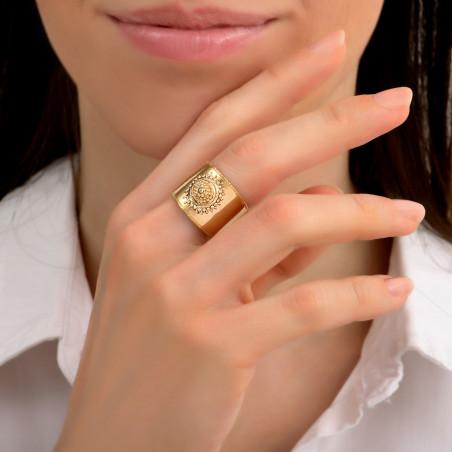 Bague ajustable raffinée métal et cristaux Prestige I doré85486