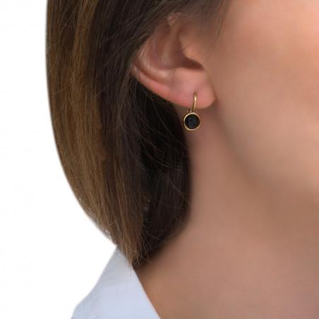 Boucles d'oreilles dormeuses raffinées onyx I noir85491
