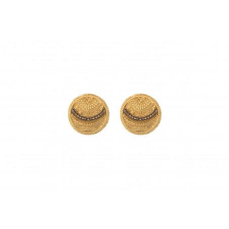 Boucles d'oreilles clips solaires métal perles du Japon I doré