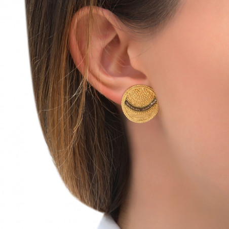 Boucles d'oreilles clips solaires métal perles du Japon I doré85499