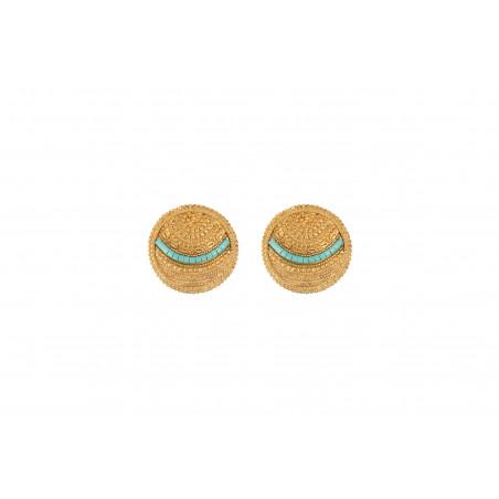 Boucles d'oreilles clips bohèmes chics métal perles du Japon I bleu
