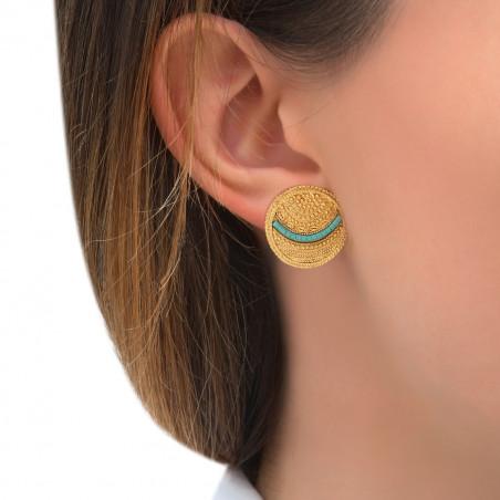 Boucles d'oreilles clips bohèmes chics métal perles du Japon I bleu85501