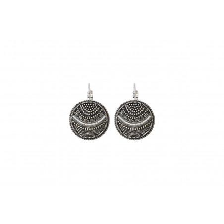 Boucles d'oreilles dormeuses tendance métal perles du Japon I argenté