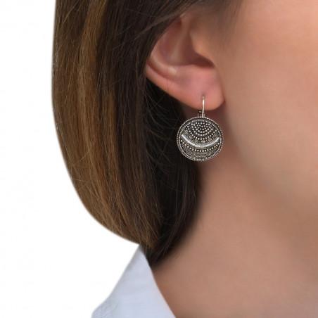 Boucles d'oreilles dormeuses tendance métal perles du Japon I argenté85503