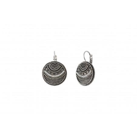 Boucles d'oreilles dormeuses tendance métal perles du Japon I argenté85504