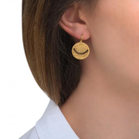 Boucles d'oreilles dormeuses solaires métal perles du Japon I doré85506