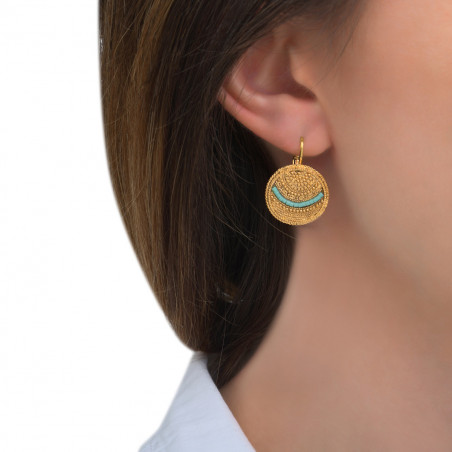 Boucles d'oreilles dormeuses bohèmes chics métal perles du Japon I bleu85509
