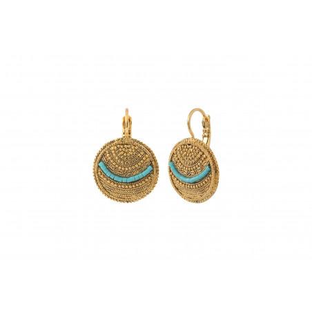 Boucles d'oreilles dormeuses bohèmes chics métal perles du Japon I bleu85510