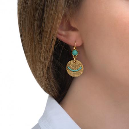 Boucles d'oreilles dormeuses ethniques amazonite I bleu85518