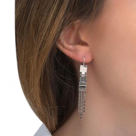 Boucles d'oreilles dormeuses chics perles du Japon cristaux Prestige I argenté85530